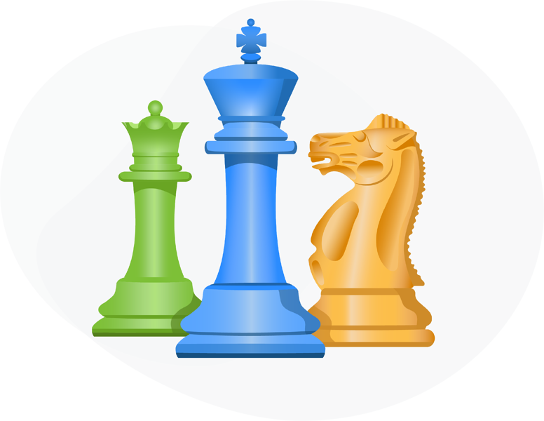 three-chess-pieces-representing-loyalty-program-strategy-and-design-services
